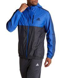 Adidas - Blue Colorblock Windbreaker Zip Hoodie for Men - Lyst