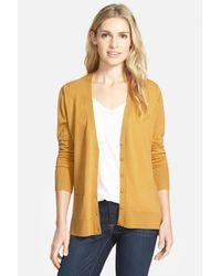 Halogen | Yellow Lightweight Merino Wool V-neck Cardigan | Lyst