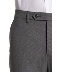 Ben Sherman Gray Light Grey Small Check Two Button Notch Lapel Trim Fit Suit for men