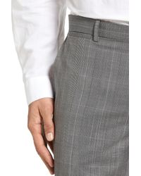 Theory - Gray Marlo Kinver Flat Front Windowpane Wool Trousers for Men - Lyst