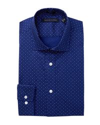 Tommy Hilfiger Blue Plain Finish Trim Fit Dress Shirt for men