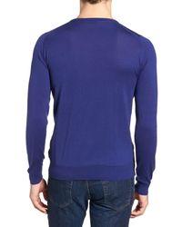 John Smedley - Blue Crewneck Sweater for Men - Lyst
