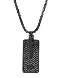 Ben Sherman Black Stainless Steel Cross Dog Tag Pendant Necklace for men