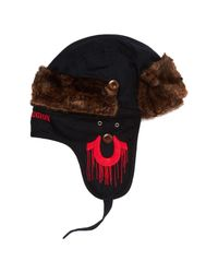 True Religion - Black Twill Faux Fur Detail Trapper for Men - Lyst
