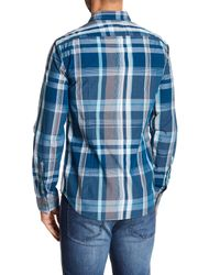 BOSS Blue Bustai Plaid Print Slim Fit Shirt for men
