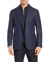 Corneliani Blue Classic Fit Herringbone Wool & Silk Sport Coat for men