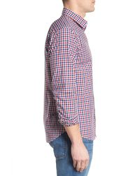 Jeremy Argyle Nyc Red Slim Fit Check Sport Shirt for men