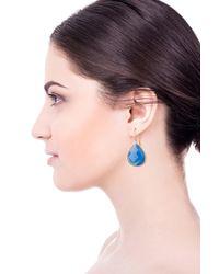 Saachi Faceted Light Blue Chalcedony Drop Earrings
