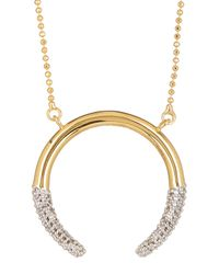 Rachel Zoe - Metallic Sophia Dipped Pave Crescent Necklace - Lyst