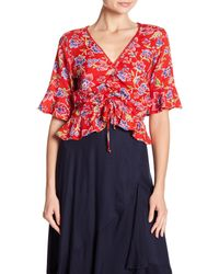 Angie Red 3/4 Sleeve Front Tie Floral Print Blouse