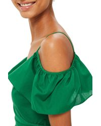 TOPSHOP - Green Ruffle Cold Shoulder Wrap Top - Lyst