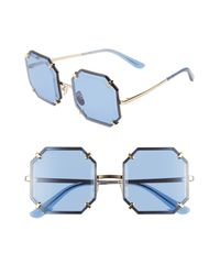 Dolce & Gabbana 55mm Square Sunglasses In Silver/blue Solid At Nordstrom Rack