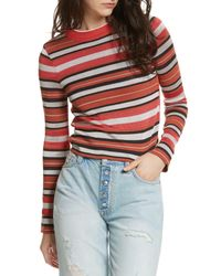 Free People - Pink New Age Crew Neck Sweater - Lyst