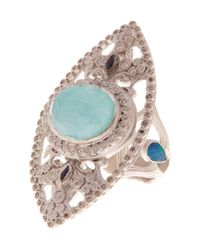 Armenta - Green Sterling Silver Marquis Stone & Diamond Ring - Size 6.75 - Lyst