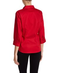 Foxcroft - Red 3/4 Length Sleeve Perfect Shirt (petite) - Lyst