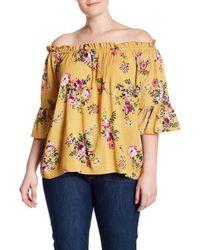 Derek Heart Multicolor Off-the-shoulder Ruffle Sleeve Floral Blouse (plus Size)