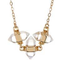 Rebecca Minkoff - Metallic Triple Stone Pendant Necklace - Lyst