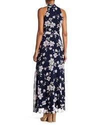 Chetta B Blue Floral Crepe Maxi Dress
