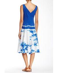 Luna Luz - Blue Surplice Neck Tank Dress - Lyst