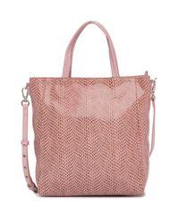 Sorial Pink Rubina Lizard Embossed Leather Mini Tote Bag