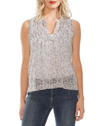 Vince Camuto Multicolor Shadow-etch Pleated Top
