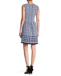 Max Studio Blue Pleated Patterned Dress
