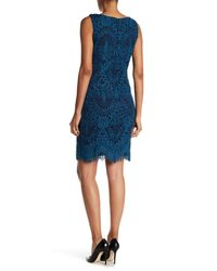 Chetta B Blue Sleeveless Crochet Lace Dress