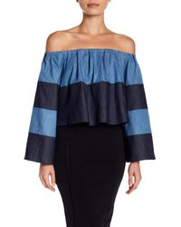 16ad11f38eb5c Kendall + Kylie. Women s Blue Off-the-shoulder Bell Sleeve Denim Crop Top