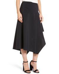 Trouvé | Black Trouv? Asymmetrical Midi Skirt | Lyst