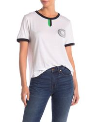 Veronica Beard White Contrast Trim Ringer T-shirt
