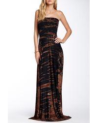 Go Couture - Black Tie-dye Strapless Maxi Dress - Lyst