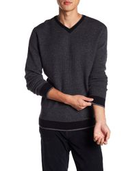 Bugatchi - Gray Print & Trim Pullover Sweater for Men - Lyst