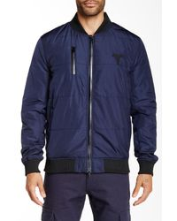 Control Sector Blue Snafu Bomber Jacket for men