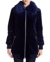 Romeo and Juliet Couture Blue Faux Fur Collar Quilted Velvet Coat