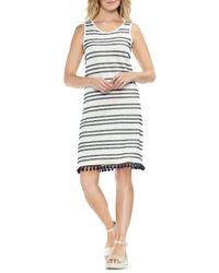 Vince Camuto Black Fringe Hem Stripe Cotton Blend Dress