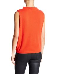 Inhabit - Orange Funnel Neck Sleeveless Cashmere Sweater - Lyst