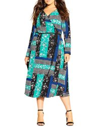 City Chic Blue Bright Patch Long Sleeve Dress