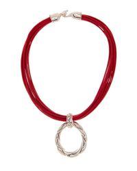 Simon Sebbag | Multicolor Sterling Silver & Poppy Leather Braided Loop Pendant Pendant | Lyst