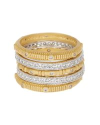 Freida Rothman - Metallic Two-tone Cz Accent Ring Set - Size 9 - Lyst