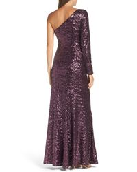 Vince Camuto - Purple Ruched Sequin One-shoulder Gown - Lyst