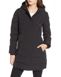 Guess - Black Hooded Jacket With Faux Fur Trim - Lyst