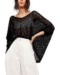 Free People | Black Napa Crochet Sweater | Lyst