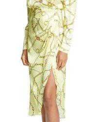 Ronny Kobo Yellow Kaira Long Sleeve Silk Blend Jacquard Dress