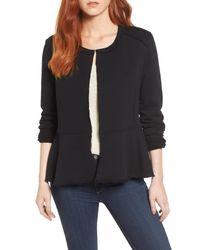 Caslon Black (r) Knit Peplum Jacket (regular & Petite)