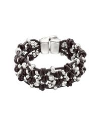 Uno De 50 - Brown Seedbed Beaded Leather Knot Bracelet - Lyst