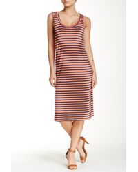 Splendid - Red 'monterosso' Stripe Mix Midi Dress - Lyst