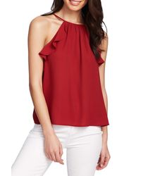 1.STATE Red Flounce Edge Halter Neck Top