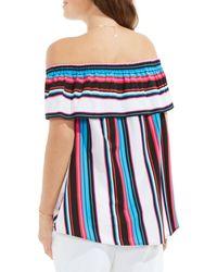 Vince Camuto - Blue Stripe Off The Shoulder Blouse - Lyst