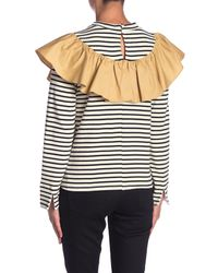 English Factory Multicolor Striped Contrast Ruffle Long Sleeve Shirt