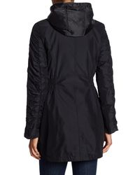 Laundry by Shelli Segal - Black Ruched Sleeve Trench Coat - Lyst